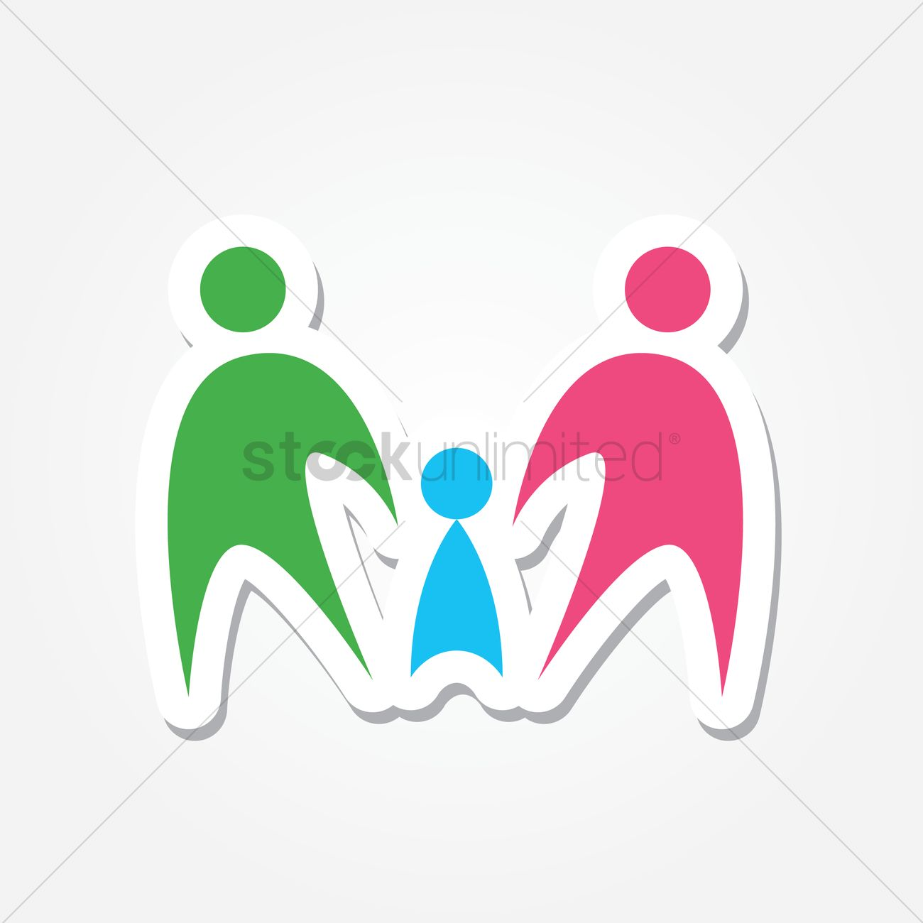 Free Family holding hands logo Vector Image.