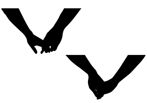 Holding Hands Silhouette Vector.