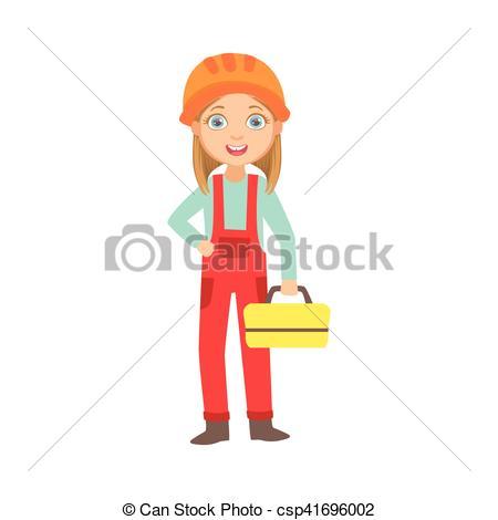 Vector Clipart of Girl Holding Metal Instrument Kit Box, Kid.