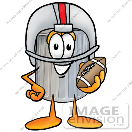 Clip Art Graphic of a Metal Trash Can Cartoon Character in a.
