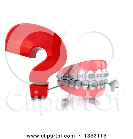 Clipart of a 3d Metal Mouth Teeth Mascot with Braces Holding up a.
