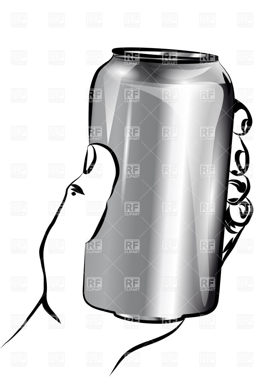 Hand holding a silver metal can Vector Image #35264.