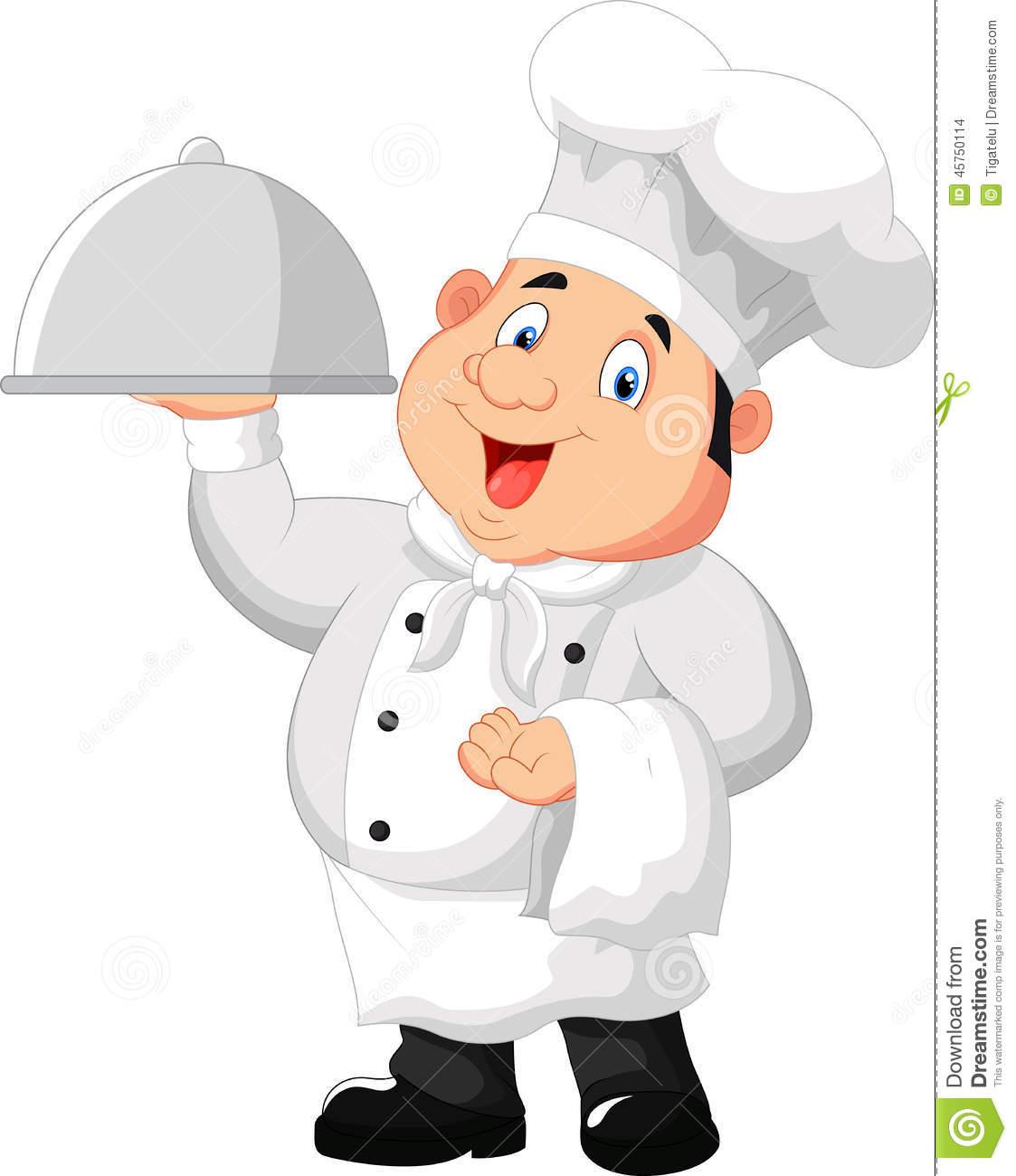 Chef Cartoon Holding A Metal Food Platter Stock Vector.