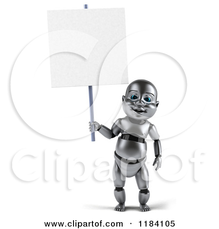 Clipart of a 3d Metal Baby Robot Holding a Sign.