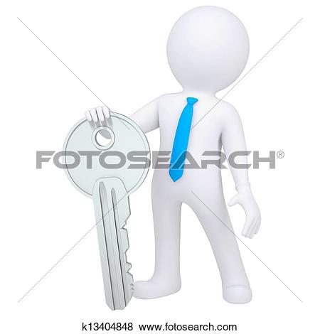 Stock Illustration of 3d white man holding metal key k13404848.