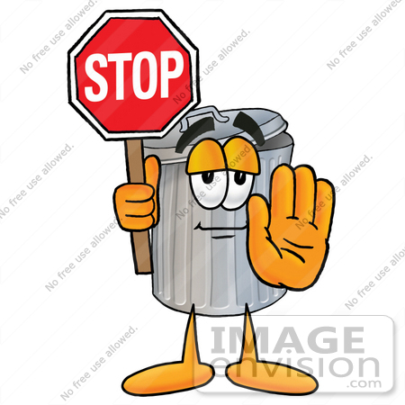 Clip Art Graphic of a Metal Trash Can Cartoon Character Holding a.