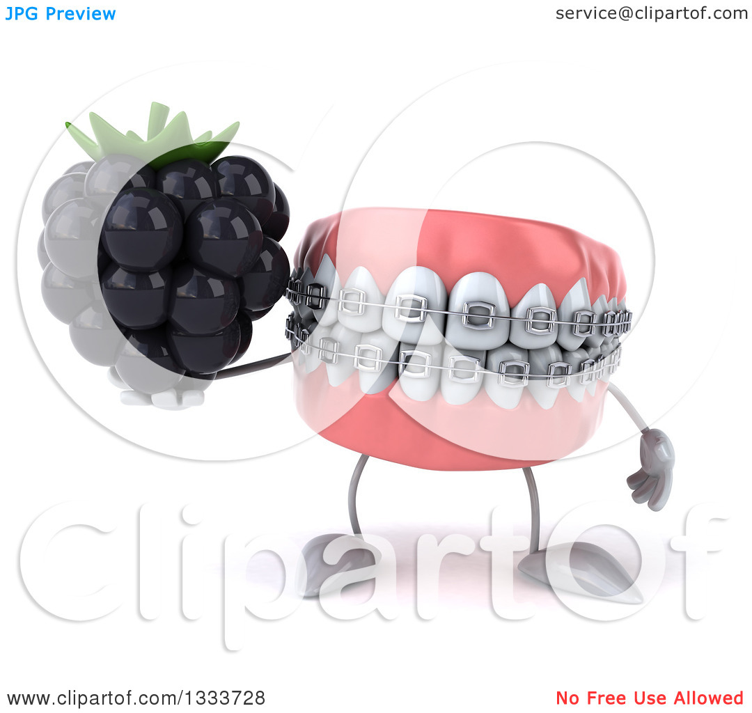 Clipart of a 3d Metal Mouth Teeth Mascot with Braces, Holding a.