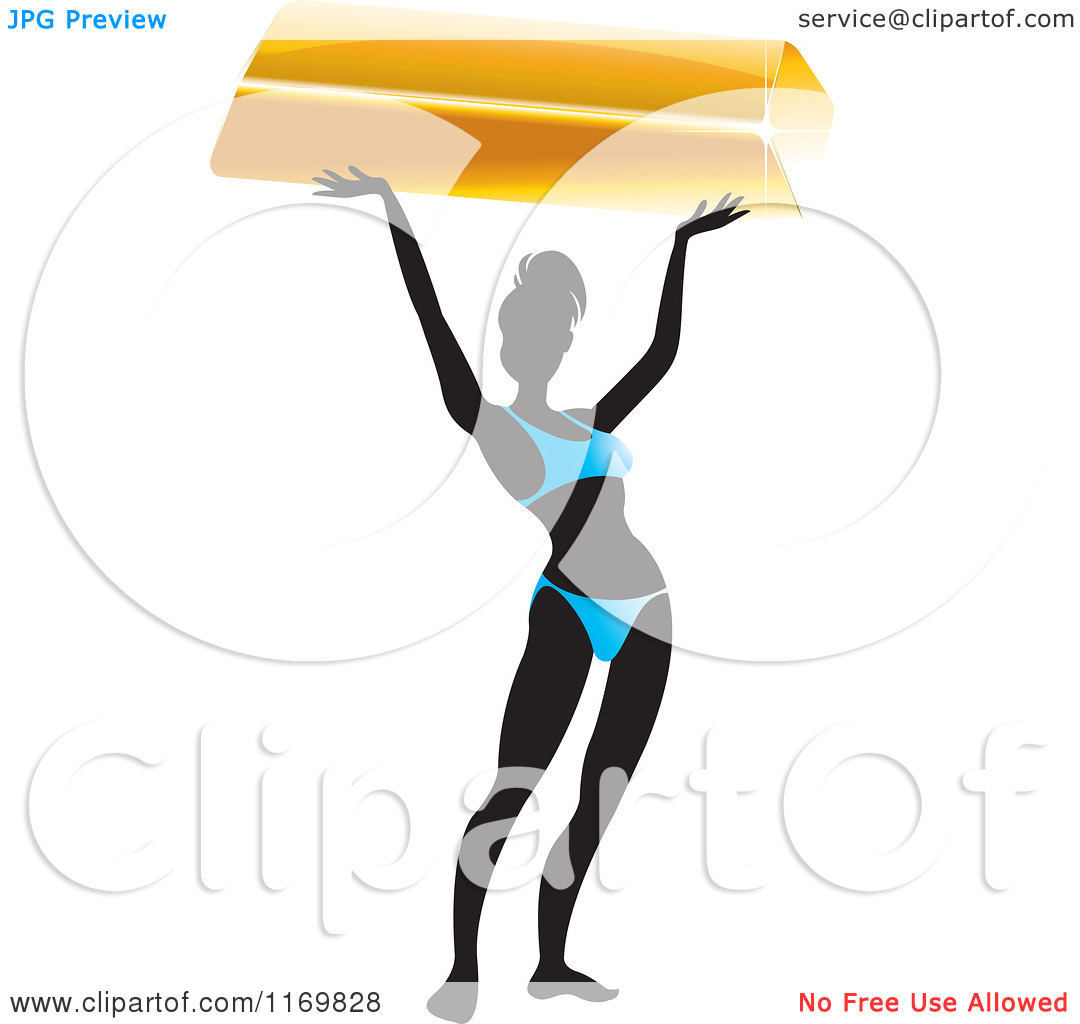 Clipart of a Silhouetted Bikini Woman Holding up a Bar of Gold.