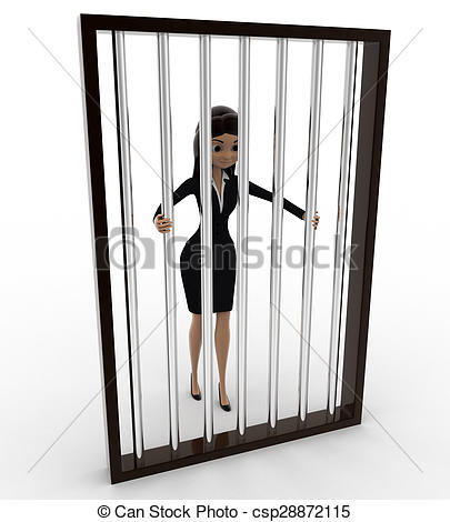 Clipart of 3d woman in jail holding bars concept on white.