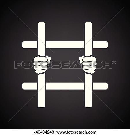 Clipart of hands holding prison bars flat icon k35956530.