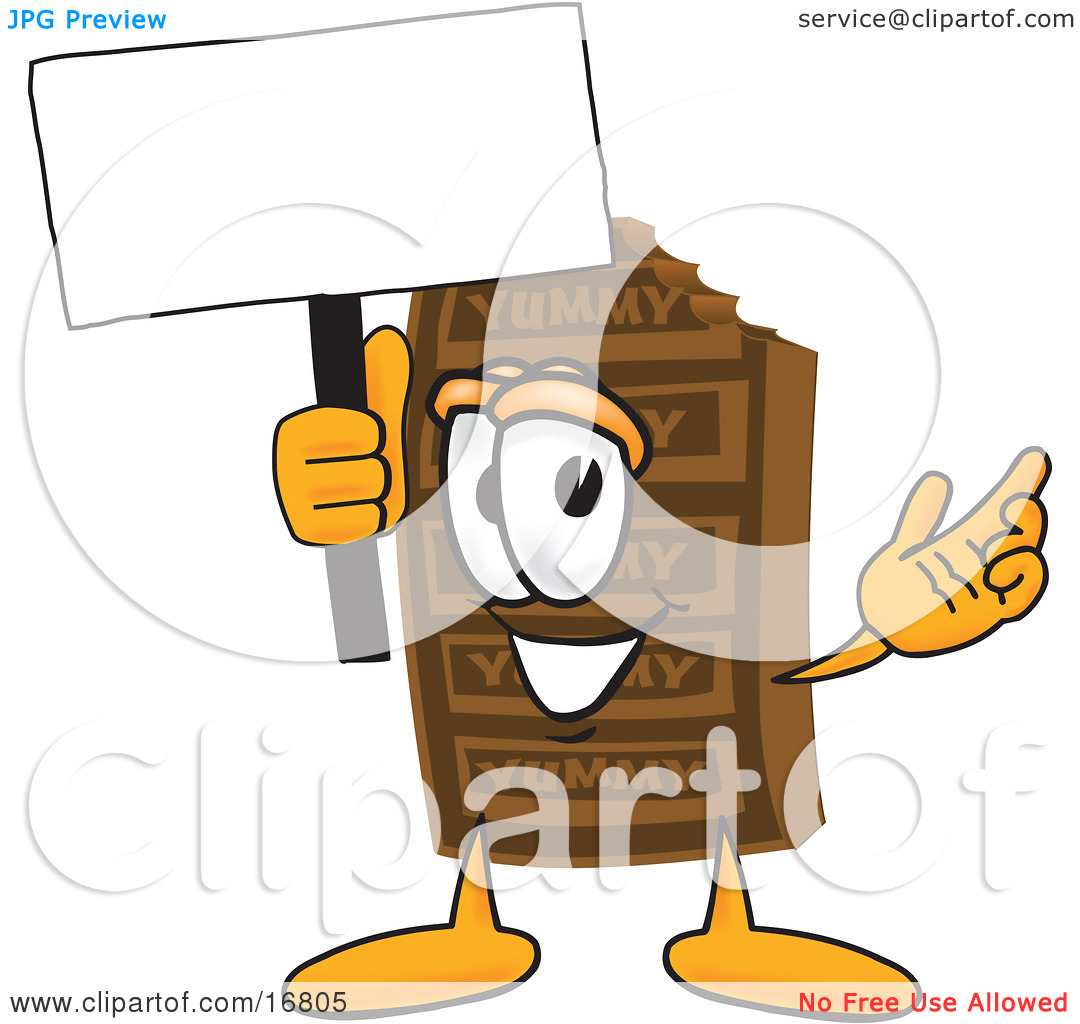 Clipart Picture of a Chocolate Candy Bar Mascot Cartoon Character.