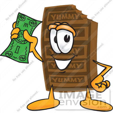 Clip Art Graphic of a Chocolate Candy Bar Mascot Character Holding.