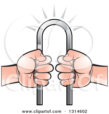 Clipart of White Hands Holding an Iron Bar.