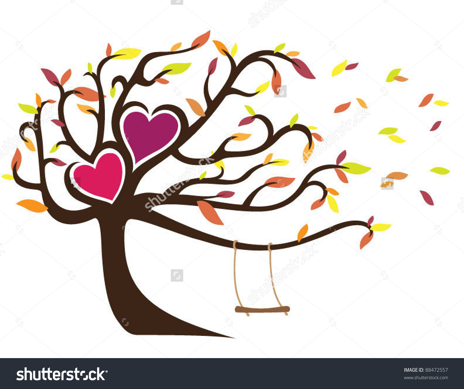Windy Fall Tree With Swing Holding Two Hearts Stock Vector.