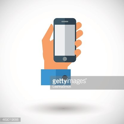 Hand holding Mobile phone Clipart Image.