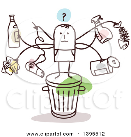 Clipart of a Sketched Stick Man with Many Arms, Holding Items on.