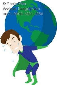 Clip Art Illustration Of A Superhero Holding The Earth On His Back.