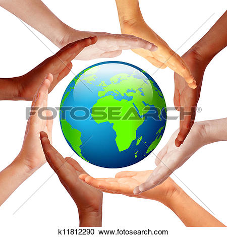 Clip Art of Many children holding their hands around Earth.