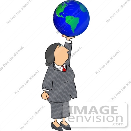 Business Woman Holding The World Clipart.