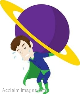 Clip Art Of A Superhero Holding A Planet Up.