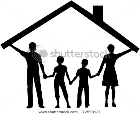Silhouette Picture of a Family Safe at Home As Mom and Dad Hold up.