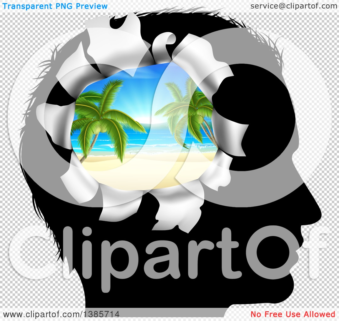 Clipart of a Black Silhouetted Man's Head Thinking of Vacation.