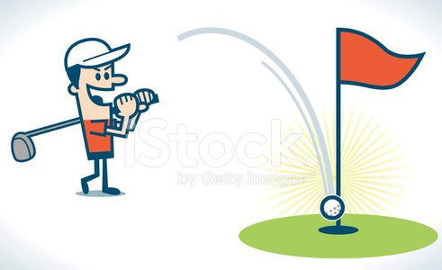 Hit a hole in one Clipart Image.