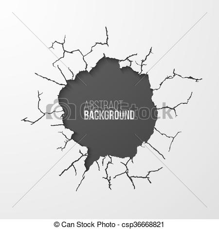 Vector Illustration of Cracked hole in the wall banner with space.