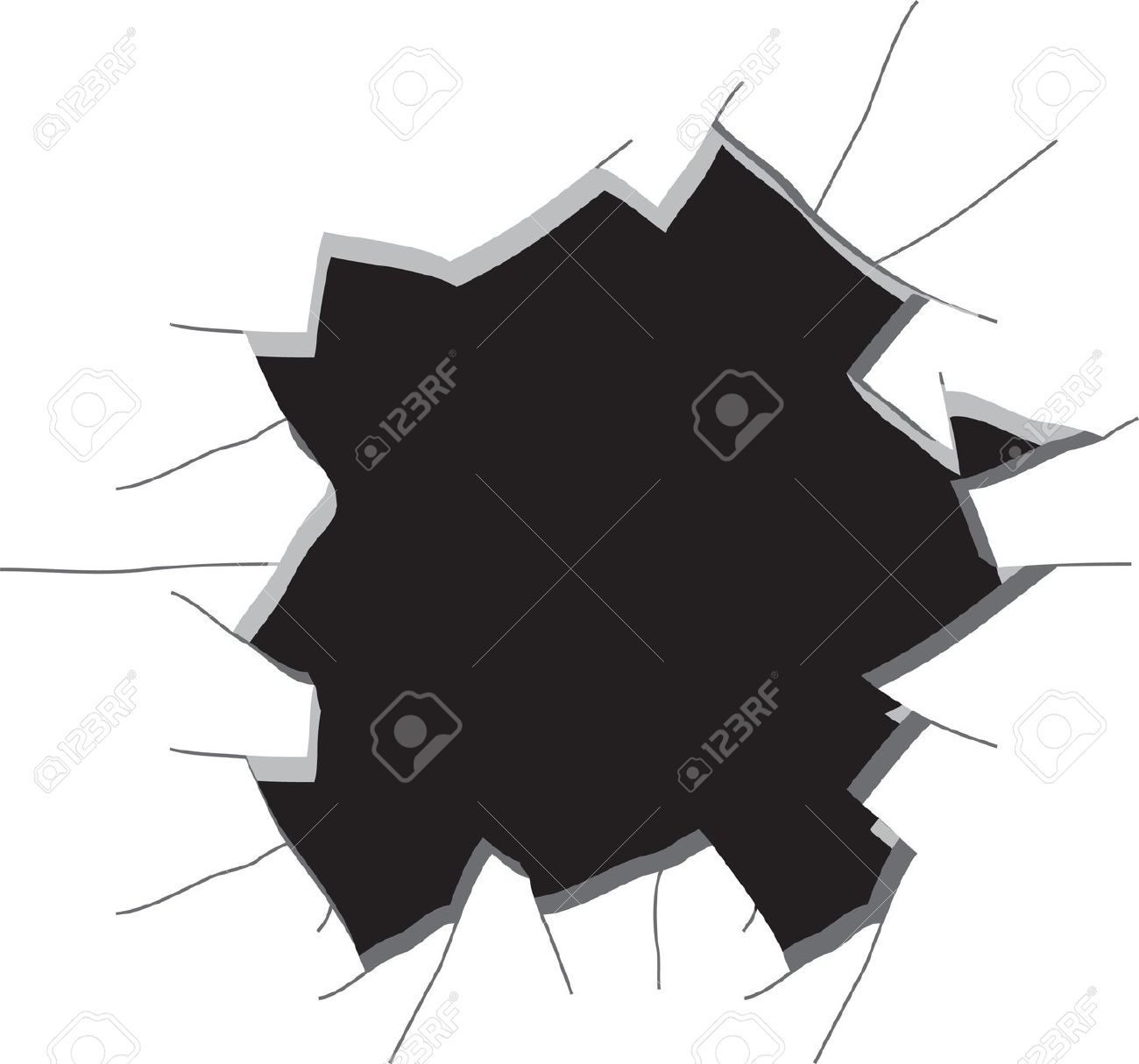 Hole In A Wall. Vector Illustration Royalty Free Cliparts, Vectors.