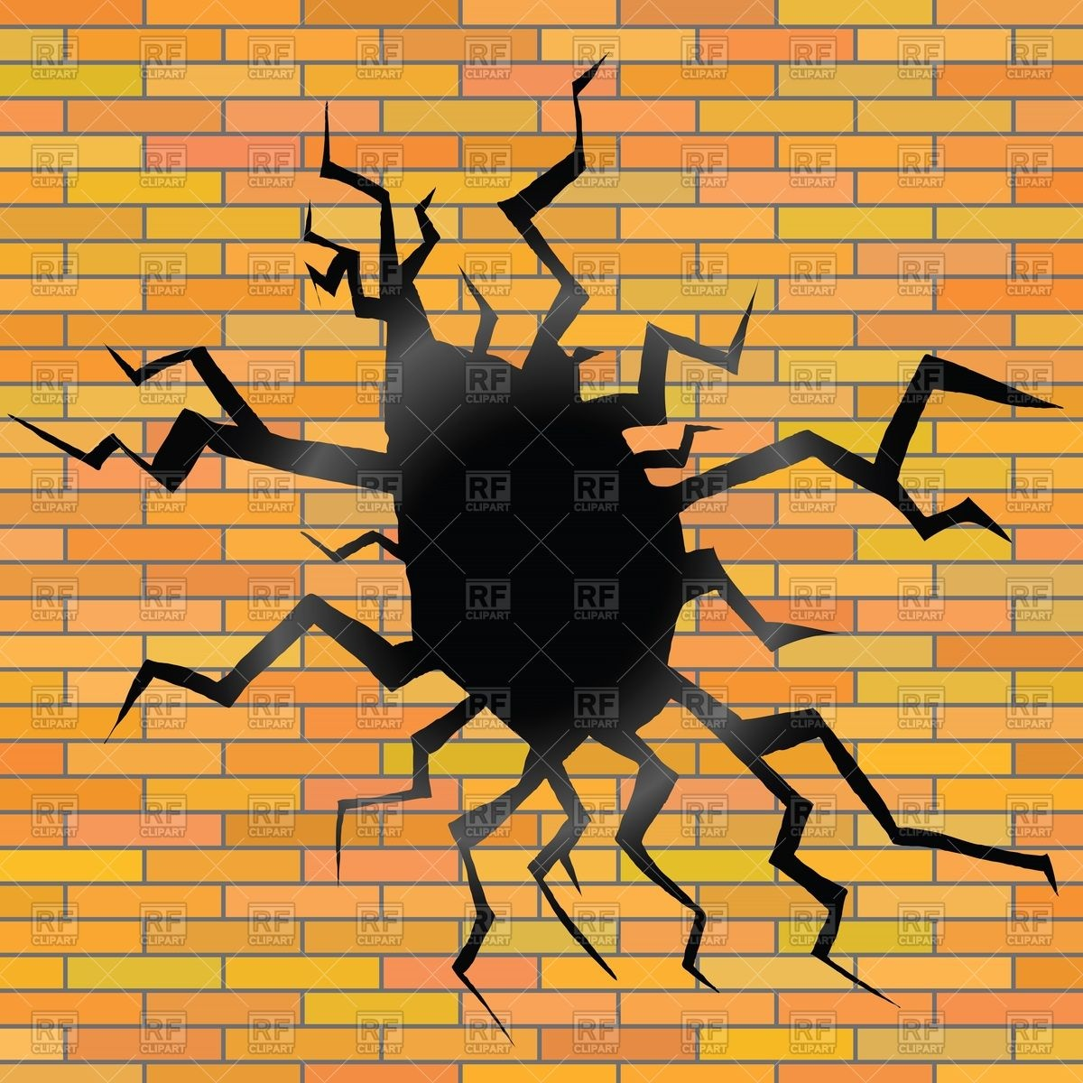 Hole and cracks in brick wall Vector Image #55074.