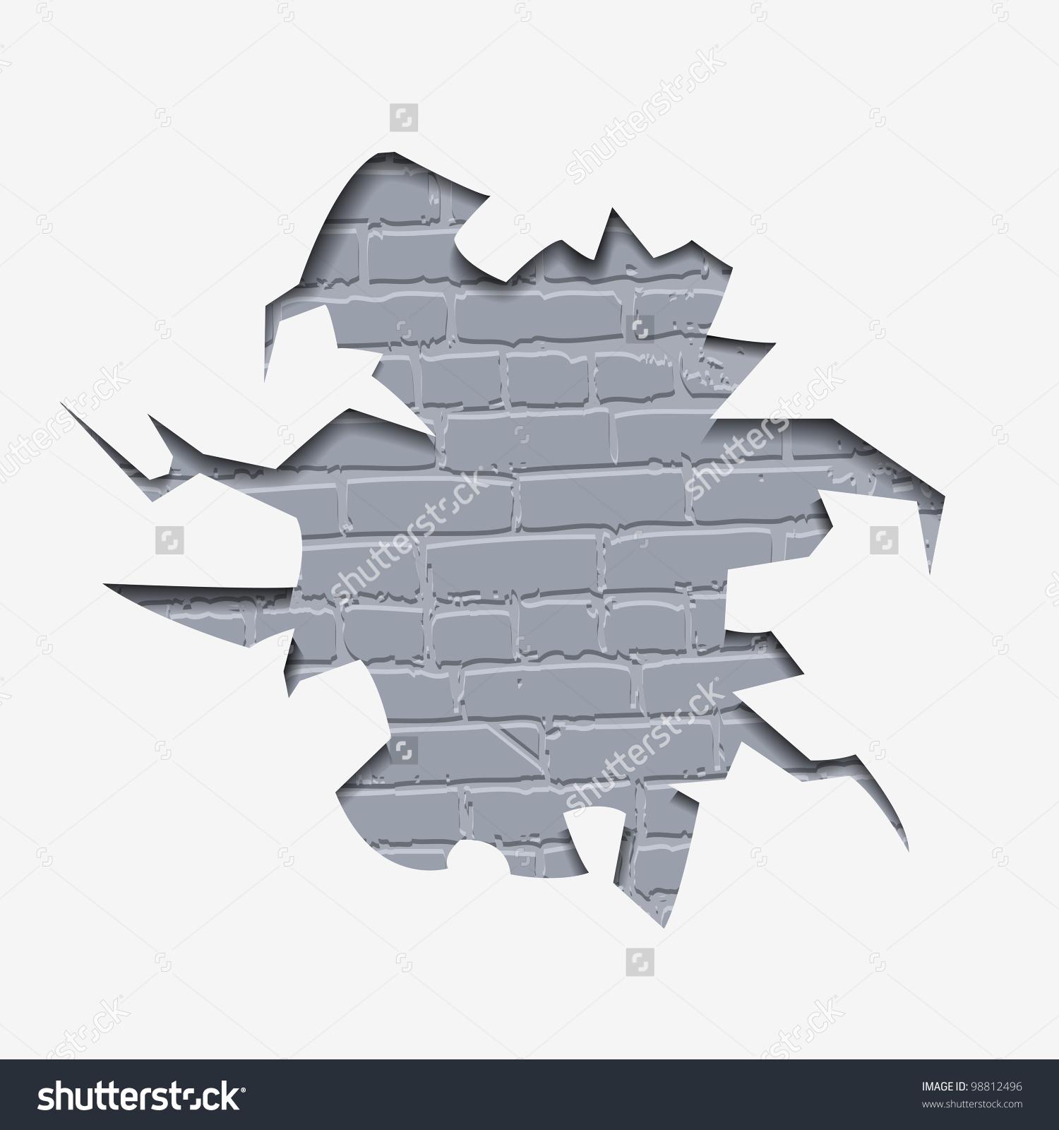 Through Hole Wall Visible Bricks Vector Stock Vector 98812496.