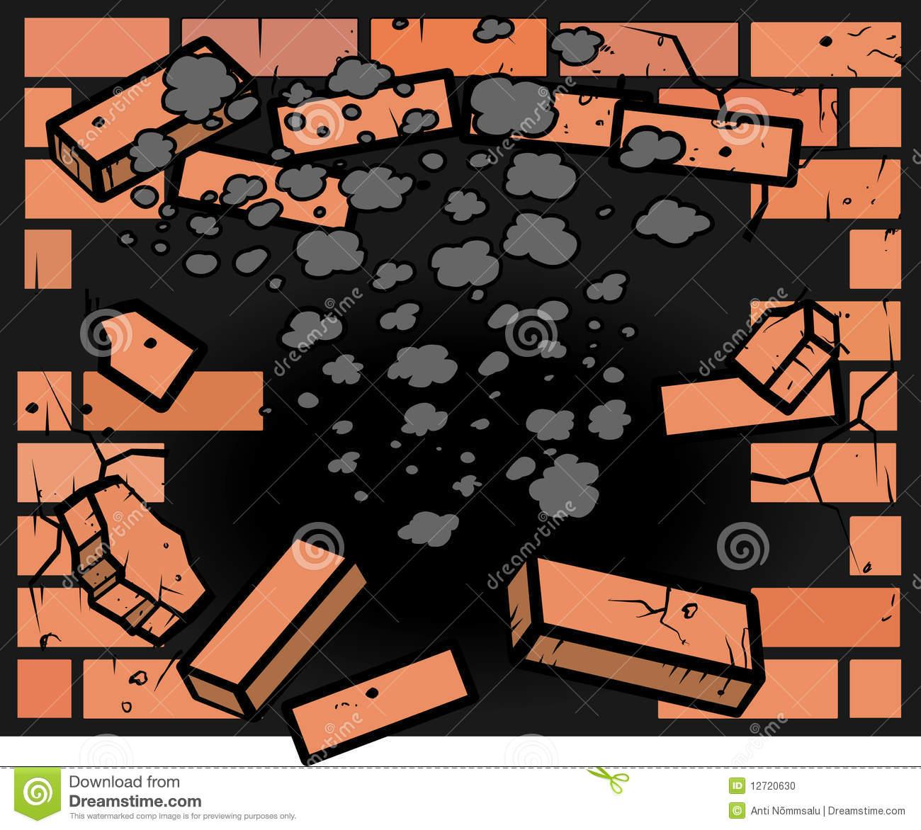 Hole In Brick Wall Stock Photo.