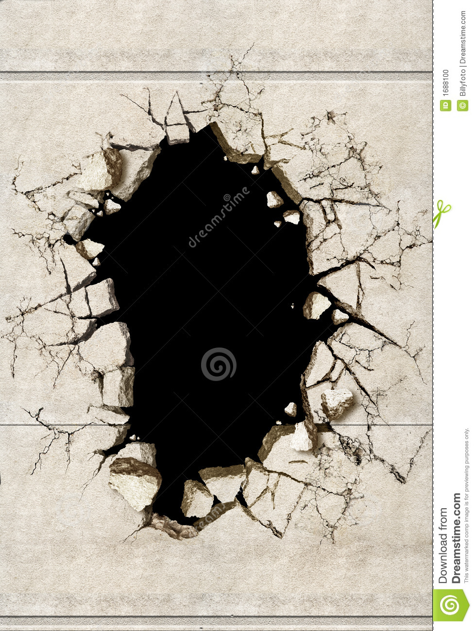 A Hole In A Mortar Wall Stock Photo.