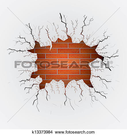 Clipart of brick wall with big hole illustration k11537082.