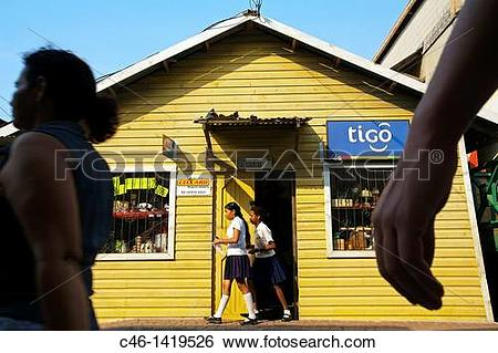 Stock Images of Shop, Coxen Hole town, Roatan Bay Islands.