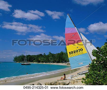 Stock Photography of Caribbean, Holetown Beach, Sand, Sea, Palm.