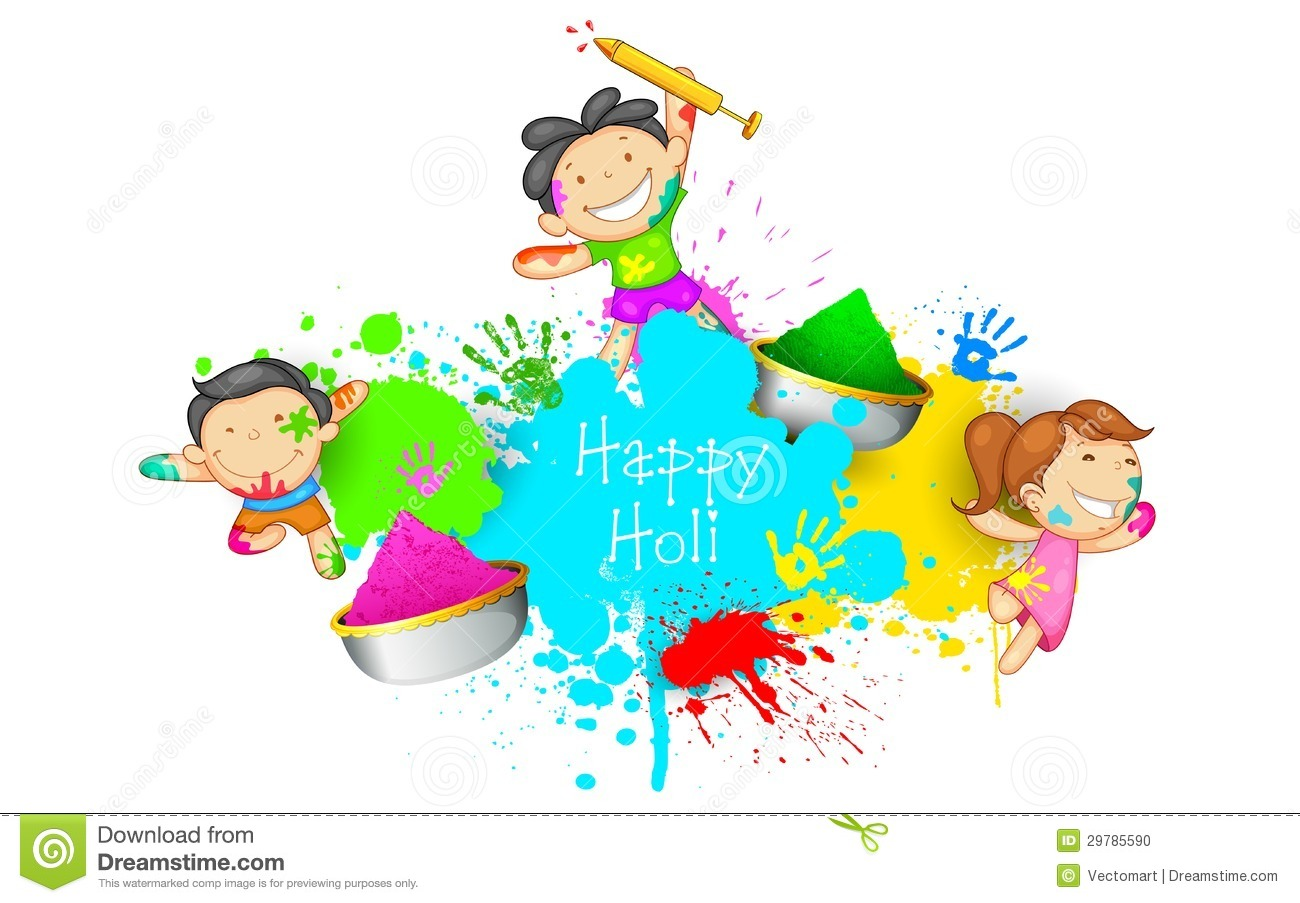 Kids playing Holi.