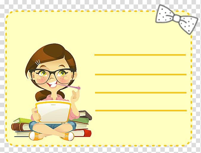 Nerd Cartoon Girl , holi transparent background PNG clipart.