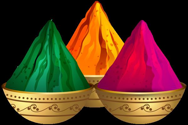 Holi Color Powders Transparent Clip Art Image.