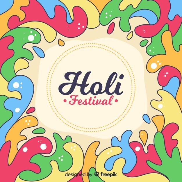 Hand drawn frame holi festival background Vector.