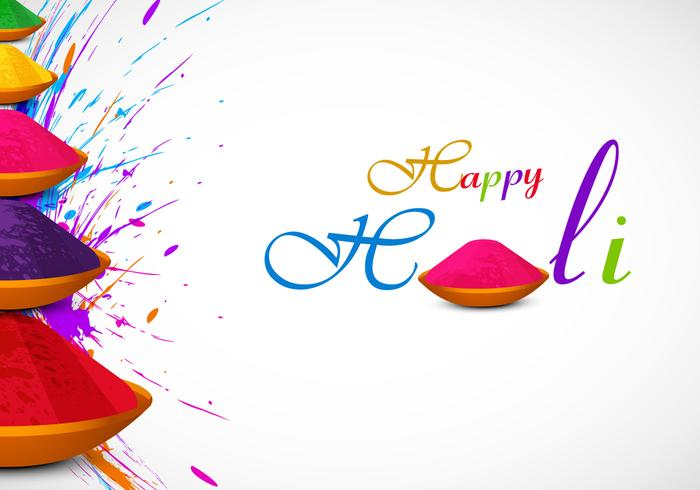 Holi Card With Powder Color.