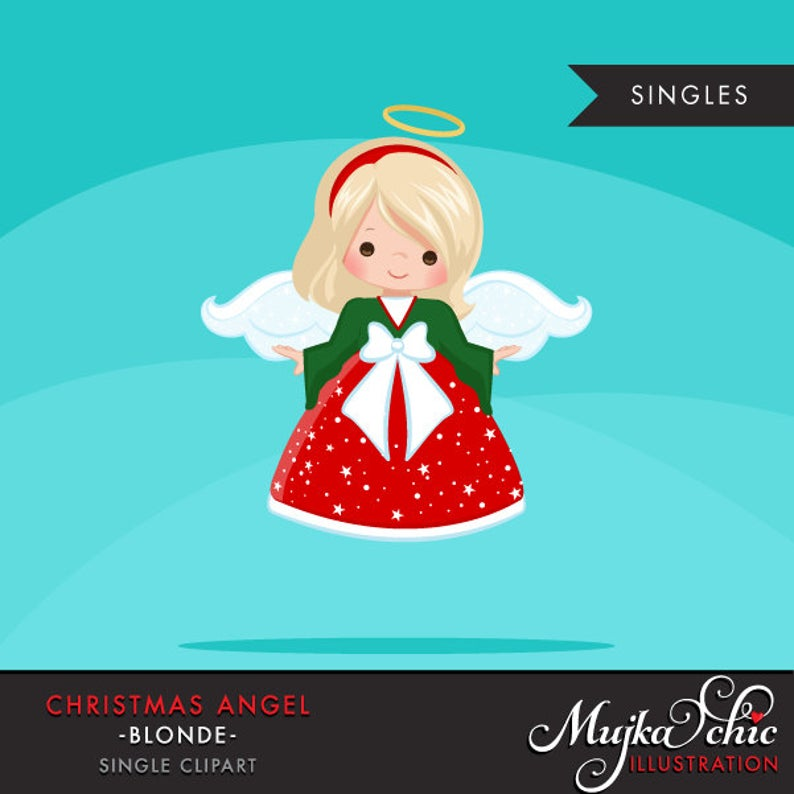 Christmas Angel Clipart. Blonde, holiday, ornaments, illustration, graphic,  cute, character, religious.