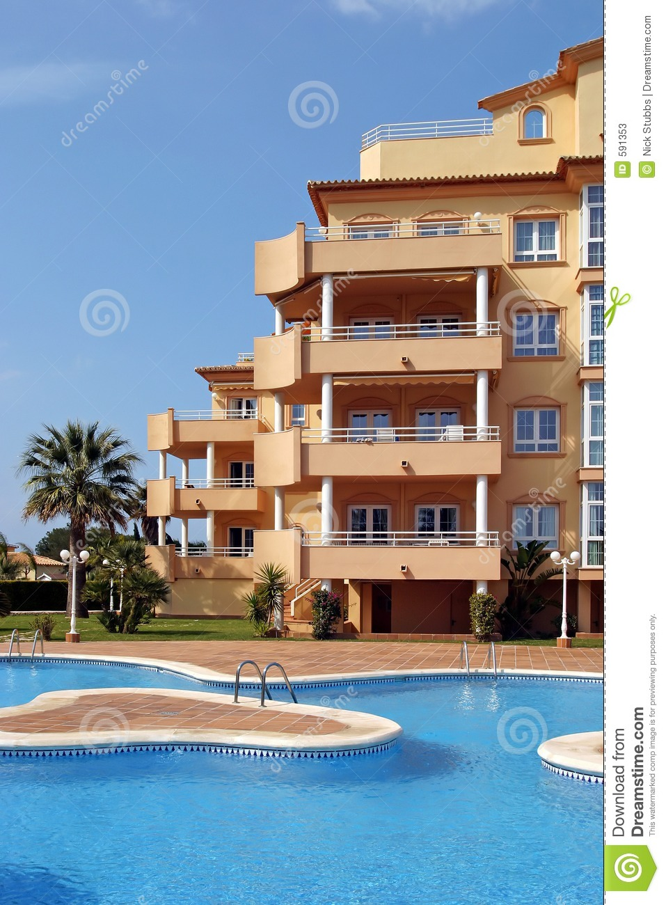 Exterior Of Luxury Holiday Or Vacation Apartments In Spain Stock.