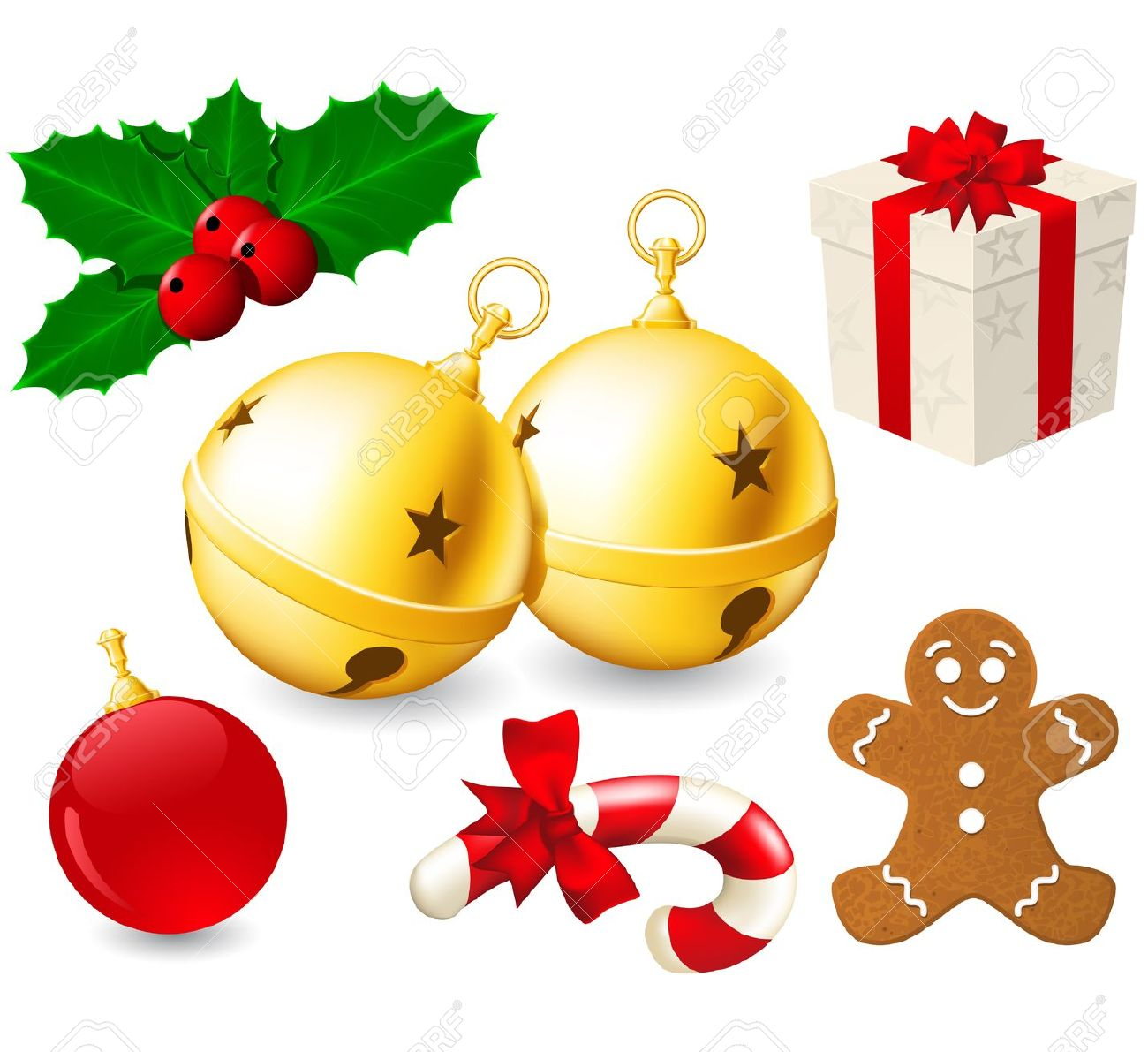 Jingle Bells And Christmas Decoration Royalty Free Cliparts.