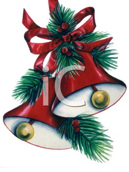 Royalty Free Clip Art Image: Picture of a Set of Holiday Bells.