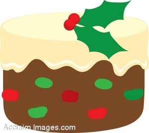 Frosted Christmas Fruit Cake Clip Art.