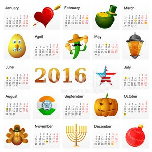 Year 2016 calendar with Holiday symbols Clipart Image.