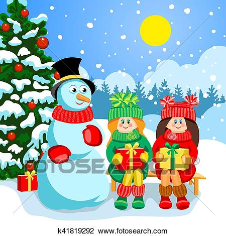 Christmas holiday card Clipart.