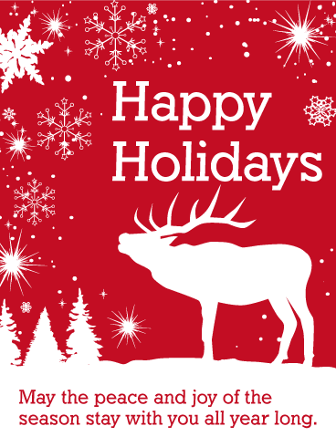 White Reindeer Happy Holidays Card.
