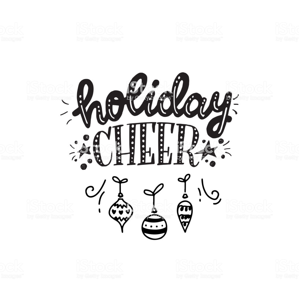 Holiday Cheer Hand Lettering Phrase Stock Illustration.